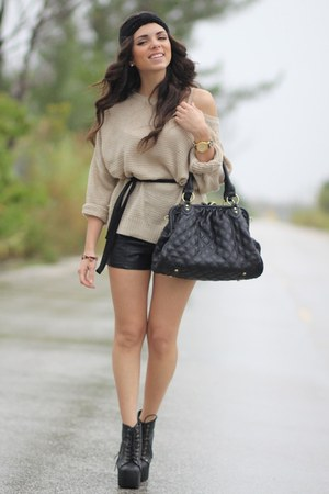 black Jeffrey Campbell shoes - beige causeway mall sweater