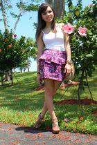 purple Forever 21 skirt - brown Steve Madden shoes - white Express top