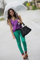 black Zara shoes - green JC Penney jeans - black Mimi Boutique bag