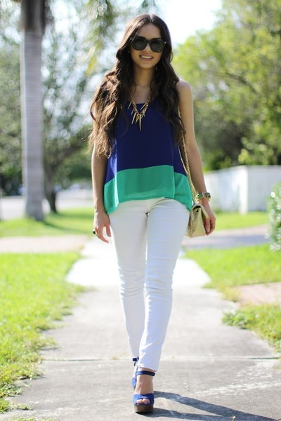 gold brittney miranda necklace - white JC Penney jeans