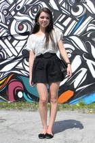 black Chanel bag - white Forever 21 t-shirt - black Forever 21 skirt - black Ste