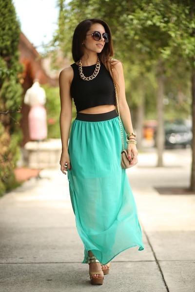 turquoise blue furor moda skirt - tan Pietro Alessandro bag