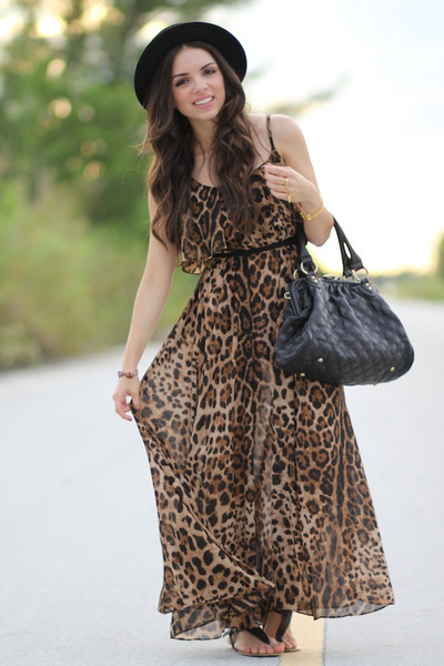 688a27c0f3a brown leopard romwe dress - black Forever 21 hat - black Mimi Boutique bag