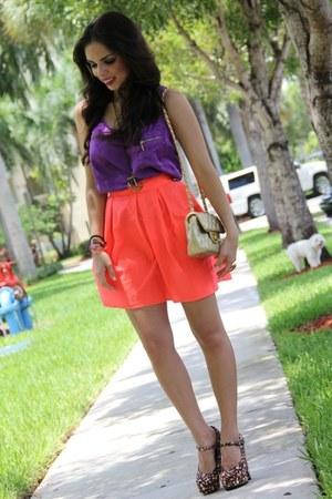 black Forever 21 shoes - gold chanel inspired Mimi Boutique bag - carrot orange