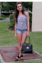 black GoJane shoes - blue abercrombie and fitch shorts - black Meet Mark purse -