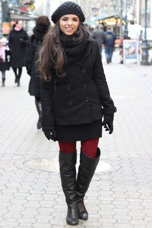 black Studio F dress - black Forever 21 coat - black H&amp;M hat