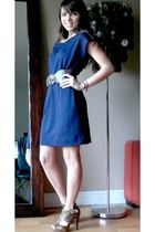 blue Forever 21 dress - brown Gift belt - brown Forever 21 shoes
