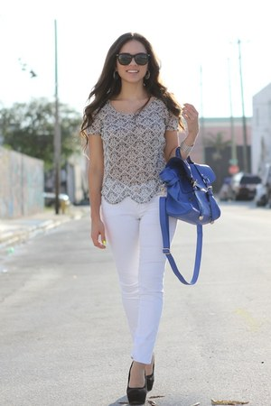 silver beginning boutique shirt - white JC Penney jeans - blue Mimi Boutique bag
