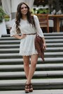 White-lace-h-m-dress-brown-fringe-mimi-boutique-bag-brown-mia-shoes-heels