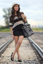 beige stripes romwe sweater - black vintage Dolce and Gabbana shoes