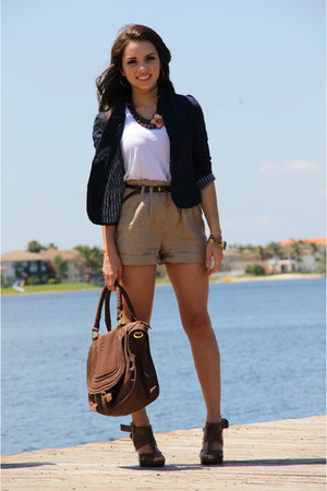 camel Forever 21 shorts - navy Forever 21 blazer - white Forever 21 shirt