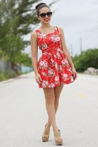 red Coosy dress - black mango JC Penney sunglasses - tan xiomara lisette wedges