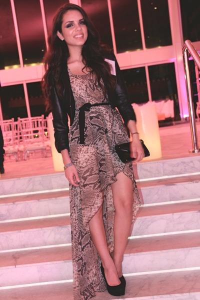 heather gray snake print Love dress - black H&M jacket - black Aldo bag