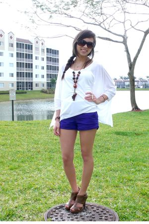 white Express top - brown Forever 21 shoes - blue Forever 21 shorts
