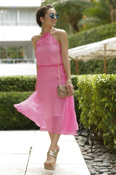 hot pink dana maxx dress - tan Shoedazzle shoes - tan Pietro Alessandro bag