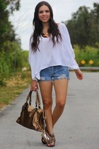 white Express top - bronze Mimi Boutique bag