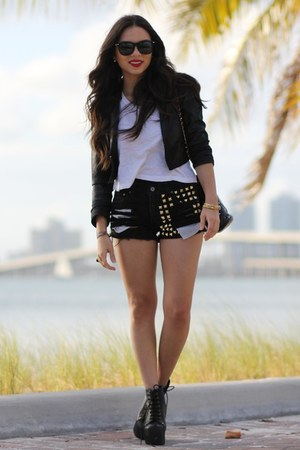 black Jeffrey Campbell shoes - black H&M jacket - black vintage bag