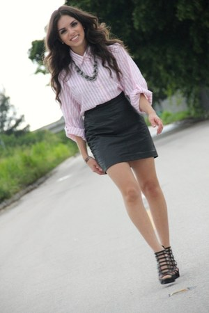 black leather vintage skirt - black cage Forever 21 shoes