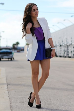 white Zara blazer - black Mimi Boutique bag - blue romwe shorts