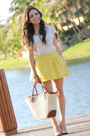yellow Forever 21 skirt - camel H&amp;M bag - cream Forever 21 top