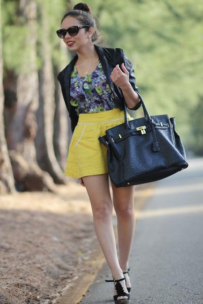 yellow Forever 21 skirt - black Steve Madden shoes - black H&M jacket