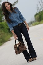 blue denim shirt Forever 21 shirt - tan nude xiomara lisette shoes