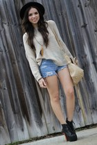 tan knitted causeway mall sweater - black litas Jeffrey Campbell shoes