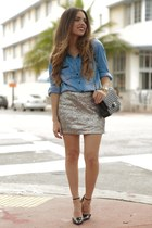 heather gray sequins furor moda skirt - black Sole Society shoes