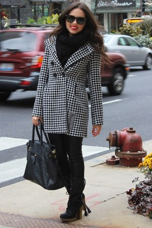 white Missing Johnny coat - black Charlotte Russe boots - black Aldo scarf