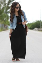 black maxi Valrouge dress - brown Forever 21 shoes
