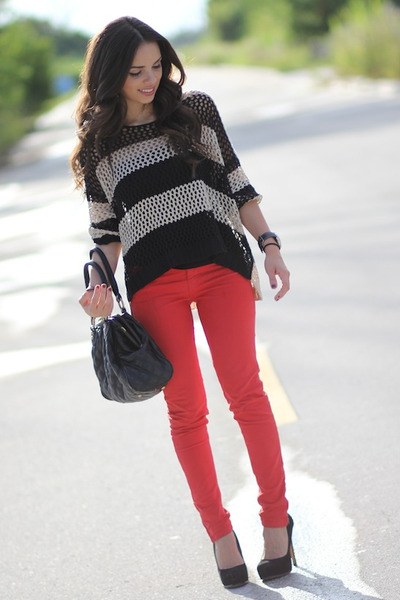 "beige stripes romwe sweaters, ruby red zara jeans | ""red and"
