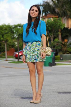 teal vintage top - gold Mimi Boutique bag - turquoise blue Forever 21 skirt