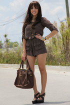 dark brown Forever 21 shoes - dark brown Mimi Boutique bag - army green Forever