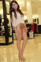 bronze sequins Bebe shorts - beige sleeve slits Bebe shirt - tan Bebe pumps