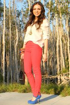 ruby red Zara jeans - white Furor top