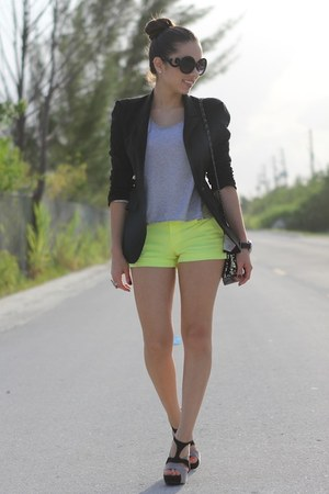 lime green Target shorts - black Forever 21 shoes - black Zara blazer