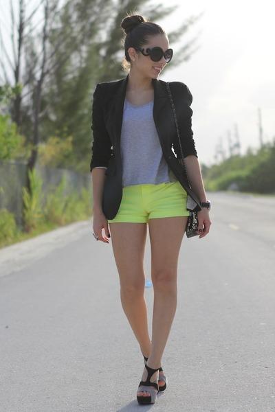 black Forever 21 shoes - black Zara blazer - black Mimi Boutique bag