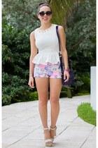 white peplum beginning boutique shirt - deep purple ted baker bag