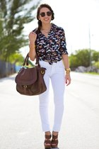 navy romwe top - white JC Penney jeans - brown Mimi Boutique bag