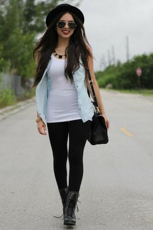 light blue denim romwe shirt - white Target shirt