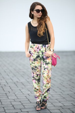 pink floral 2020AVE pants - black rachel zoe pre fall 2013 shirt