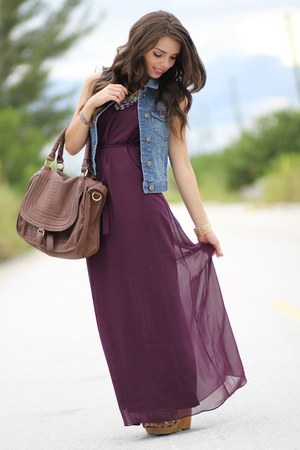 magenta maxi Forever 21 dress - brown Mimi Boutique bag