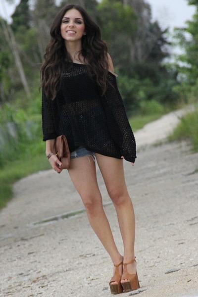 black mesh Furor shirt - bronze Jessica Simpson shoes - brown Furor bag
