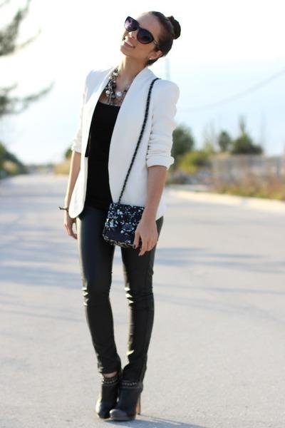 Extreem Black Sequined Mimi Boutique Bags, Black BCBG Shoes, White Zara #UA54