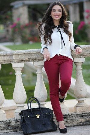 white Forever 21 blouse - black Steve Madden shoes - maroon JC Penney jeans