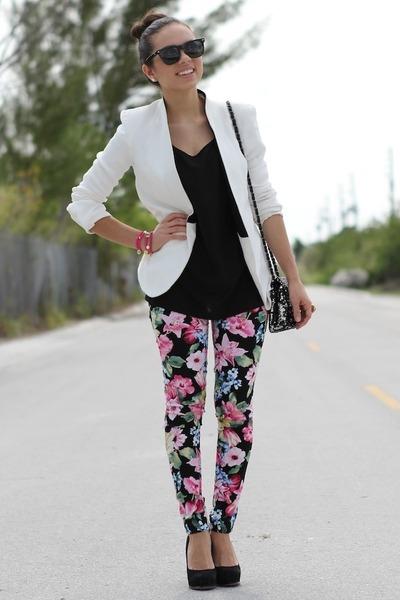 white Zara blazer - black Forever 21 shirt - black Mimi Boutique bag