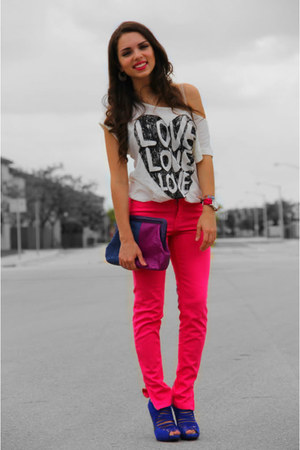 white Forever 21 top - hot pink Zara jeans - deep purple Adriana Castro bag