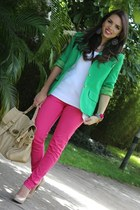 tan nude pumps Steve Madden shoes - hot pink bright pink Zara jeans - chartreuse