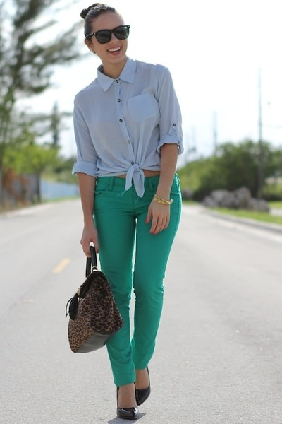 Green JC Penney Pants, Black Forever 21 Shoes, Light Blue Romwe ...