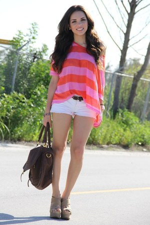 white Forever 21 shorts - bubble gum stripes H&M shirt